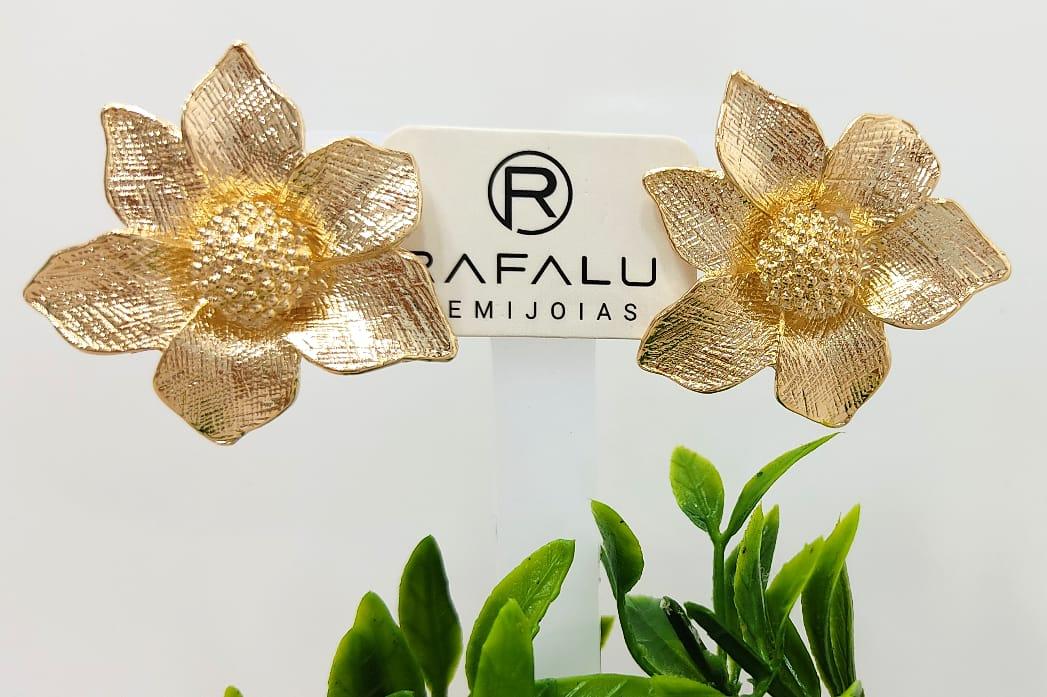 Brinco Flor Banhado a Ouro Rafalu BR001AZ - 05 ANOS DE GARANTIA