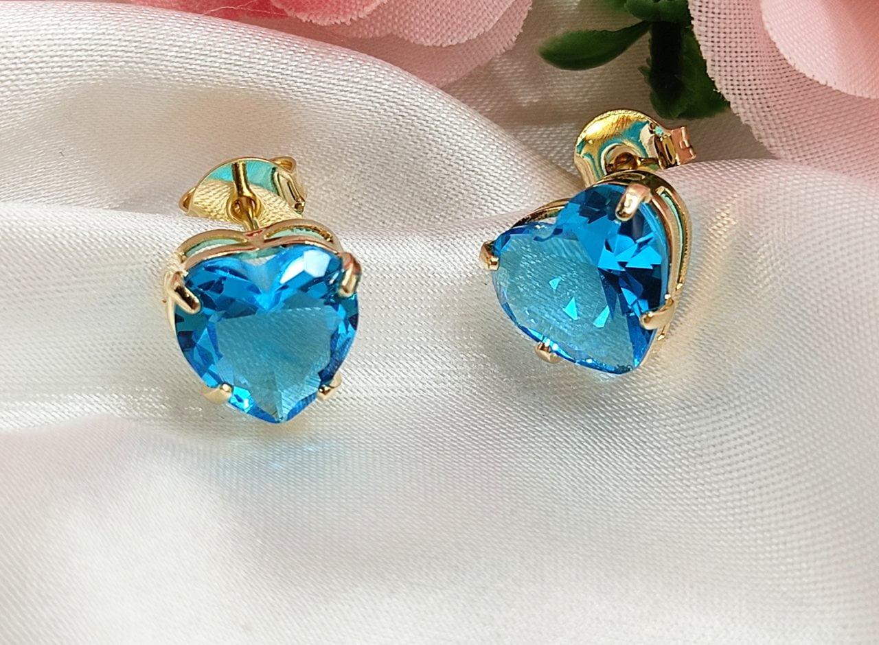 Brinco zircônia Coração Azul Banho a Ouro BR0018O - 05 ANOS DE GARANTIA