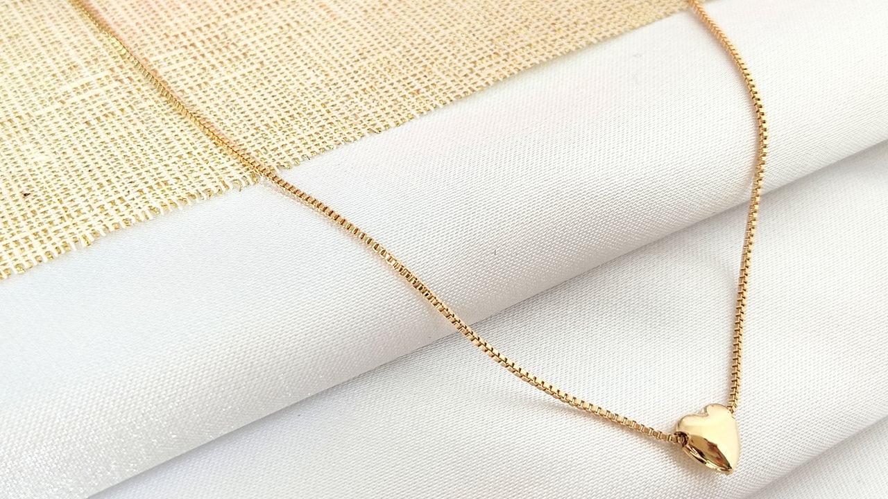 Gargantilha (39,5 cm +extensor )Coração Banhado a Ouro Rafalu - 5 ANOS DE GARANTIA) - COL0001I
