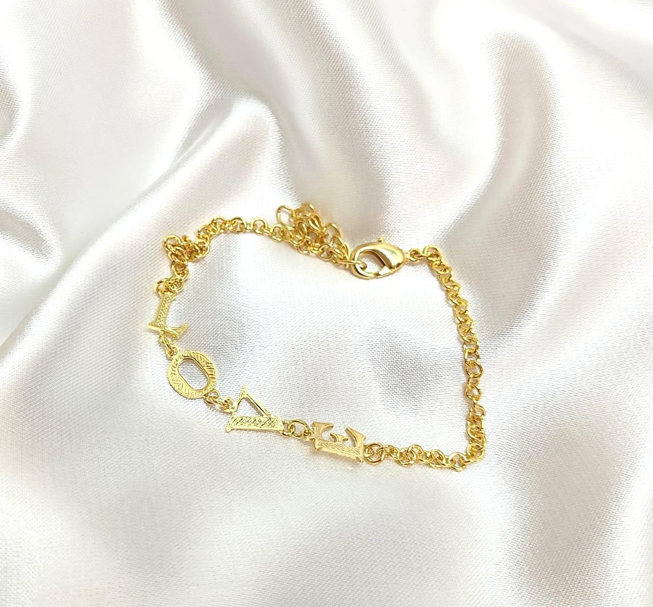 Pulseira Love (18cm + extensor) Banhado a Ouro Rafalu - PUL0001O