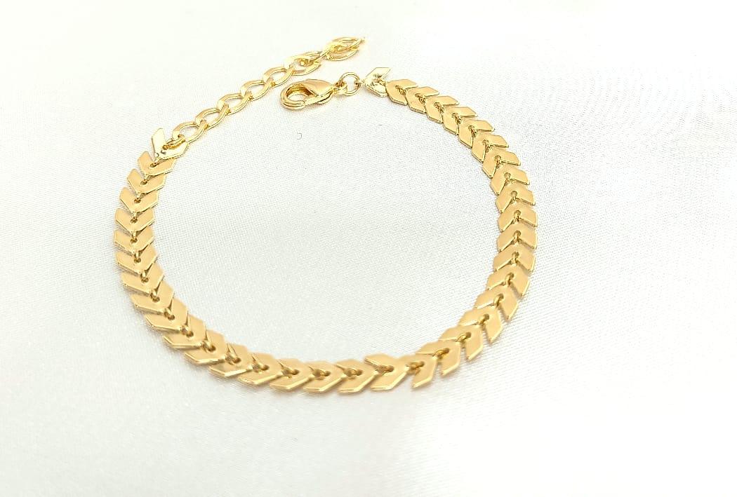 Pulseira Rafalu banhada a Ouro (17 cm + extensor )  - 05 ANOS DE GARANTIA -