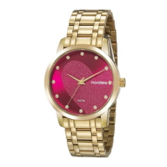 Relógio Mondaine Feminino Dourado Fundo Lilás + Pulseira