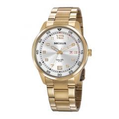 Kit Relógio Masculino Dourado Dourado Seculus + Pulseira