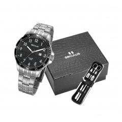 Relógio Seculus Masculino Prata + Kit unha 28986G0SVNA1K1