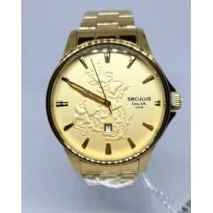 Relógio Seculus Dourado KIT São Jorge 28933GPSKDA1K1