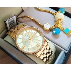 Relógio Feminino Dourado Champion CN27296X + Pulseira