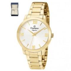 Relógio Feminino Dourado Champion CN25403W + Colar e Brinco