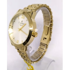 Relógio Champion Dourado Feminino + Pulseira CN25163S