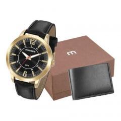 Relógio Mondaine Masculino Couro + Carteira 53701GPMGDH3K1