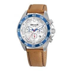 Relógio Seculus Conógrafo Pulseira de Couro 20794G0SVNC3