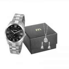 Relógio Mondaine Feminino Prata + Colar e Brinco 53918L0MGNE5K1