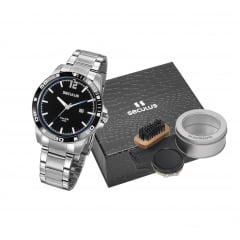 Relógio Masculino Em Aço Seculus + Brinde