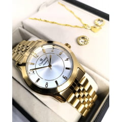 Relógio Champion Feminino + Colar e Brinco CN25074W