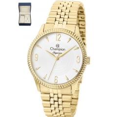 Relógio Champion Dourado Feminino + Colar E Brinco CN26073W