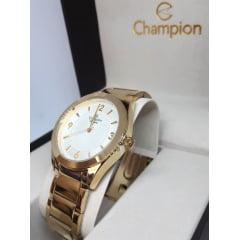 Relogio Champion Dourado Feminino + Colar E Brinco CN28866B