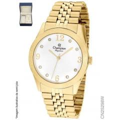 Relógio Champion Dourado Feminino + Colar E Brinco CN25298W