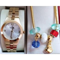 Kit Relógio Champion Feminino Dourado + Pulseira CN25467S