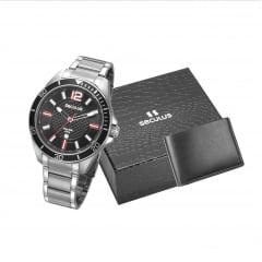 Relógio Seculus Masculino Prata + Carteira 77036G0SVNA1K1