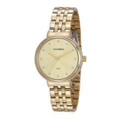Relógio Mondaine Feminino Dourado Fundo Amarelo
