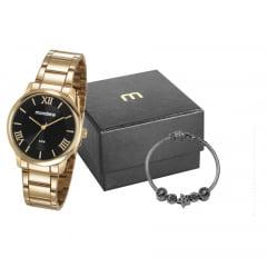 Relógio Mondaine Feminino Dourado + Pulseira 53803LPMGDE2K1
