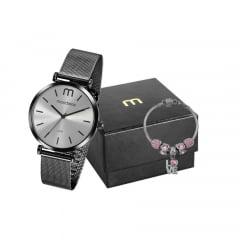 Relógio Mondaine Feminino Preta + Pulseira 53780LPMVPE3K2