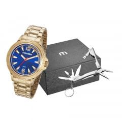 Relógio Mondaine Masculino Dourado + Canivete 83452GPMVDE2K2