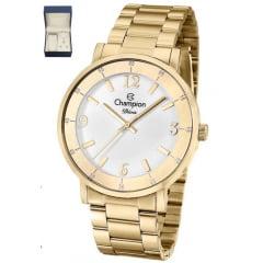 Relógio Champion Feminino Dourado + Colar e Brinco CN29687W