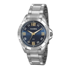 Relógio Mondaine Masculino Prata Fundo Azul