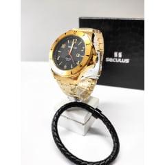 Relógio Seculus Banhado a Ouro + Pulseira 23651GPSVDA1K1