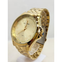 Relógio Mondaine Masculino Dourado Fundo Champanhe