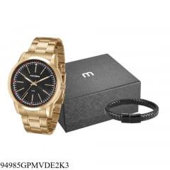 Relógio Mondaine Masculino Dourado + Pulseira