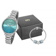 Relógio Mondaine Feminino Prata + Pulseira 32101L0MKNE3K1
