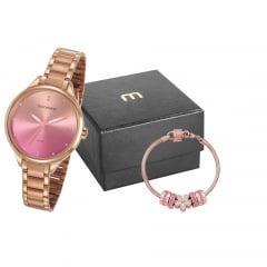 Relógio Mondaine Feminino Rosê + Pulseira