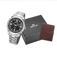 Relógio Seculus Dourado Masculino + Carteira 23639G0SVNA1K1