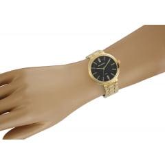 Relógio Mondaine Feminino Dourado + Colar e Brinco