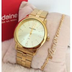 Kit Relógio Feminino Dourado Mondaine + Pulseira Rafalu PUL0003Z