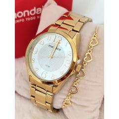Kit Relógio Feminino Dourado Mondaine + Pulseira Rafalu PUL0008V