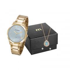 Kit Relógio Mondaine Feminino Dourado + Colar e Brinco