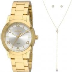 Relógio Condor Feminino Dourado + Colar e Brinco CO2035FDZ/K4K