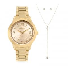 Relógio Condor Feminino Dourado + Colar e Brinco CO2036MVU/K4D