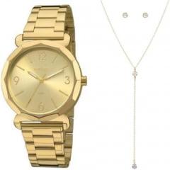 Relógio Condor Feminino Dourado + Colar e Brinco COAL2035FAY/K4X
