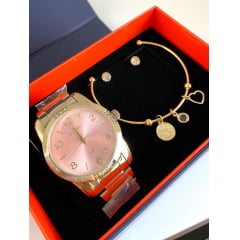 Relógio Condor Feminino Dourado + Pulseira e Brinco CO2035KOE/K4T