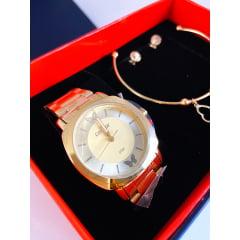 Kit Relógio Condor Feminino Dourado + Pulseira e Brinco COAL2035EYY/K4D
