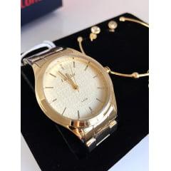Relógio Condor Feminino Dourado + Pulseira e Brinco COAL2035FDW/K4X
