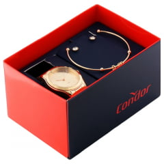 Kit Relógio Condor Feminino Dourado + Pulseira e Brinco COAL2035FKL/K4X
