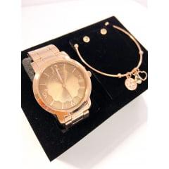 Kit Relógio Condor Feminino Dourado + Pulseira e Brinco COAL2035FNB/K4J