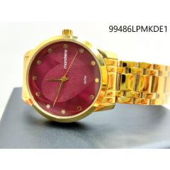 Relógio Mondaine Feminino Dourado Fundo Lilás