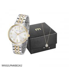 Relógio Mondaine Feminino Prata + Colar e Brinco