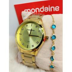 Kit Relógio Feminino Dourado Mondaine + Pulseira 53818LPMVDE1KR2