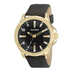 Relógio Masculino Mondaine em Couro  Caixa Dourada